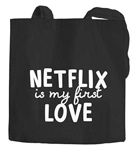 Jutebeutel Netflix is my first love Serienjunkie chillen gammeln Baumwolltasche Stoffbeutel Tragetasche Moonworks® schwarz 2 lange Henkel
