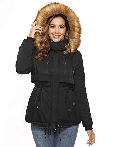 Abollria Manteau Femme Long Hiver Chaud Doudoune Capuche Manches Longues Chic à la Mode, Noir, XXL