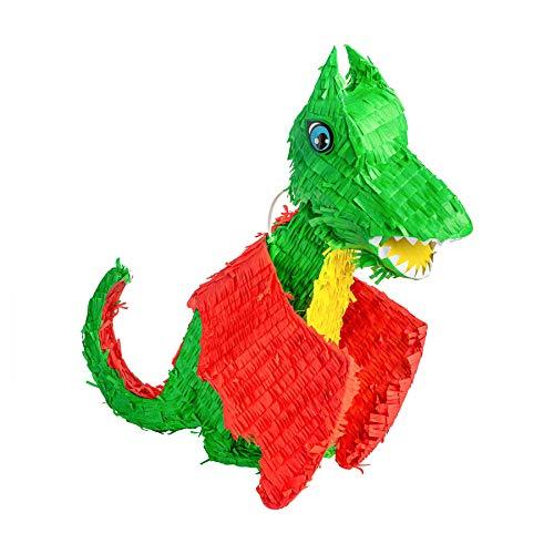 Fax Potato Dragón Piñata | Decoración de accesorios del partido | 53 x 14 x 54 cm - verde, rojo, amarillo
