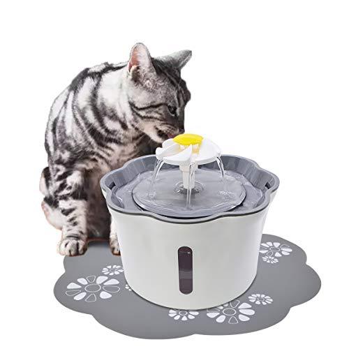 LncBoc Fuente de agua para gatos, 2,6 L dispensador automático de agua para perros con 1 filtro de repuesto, filtro de triple acción y 1 alfombrilla de silicona, filtro orgánico silencioso