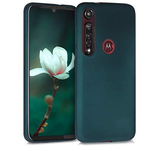 kwmobile Hülle kompatibel mit Motorola Moto G8 Plus - Hülle Silikon metallisch schimmernd - Handyhülle Metallic Petrol