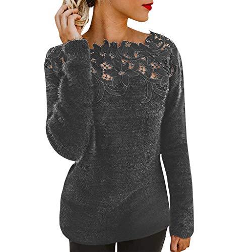 SHE.White Pullover Damen Einfarbig Spitze Druck Blusen Elegant Langarm Cold Shoulder Langarmshirts Slim Fit T-Shirts Oberteile Tops