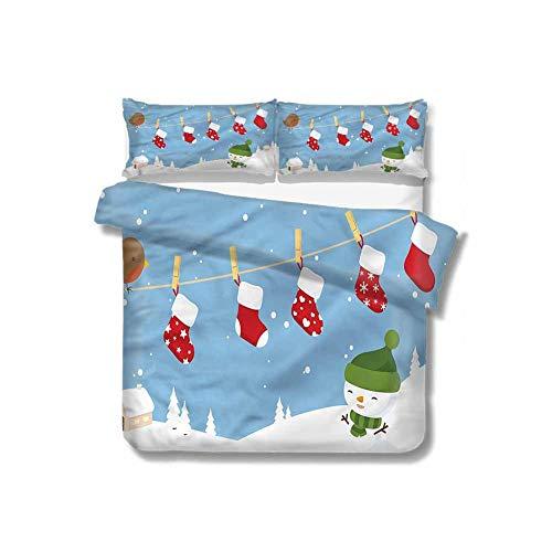 HouseLookHome Christmas Microfiber Soft Duvet Cover Set,Socks Hanging Bird Decorative 3 Piece Bedding Set with 2 Pillow Shams,Full Size