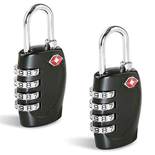 CFMOUR TSA Suitcase Locks - 1, 2, 3, 4, 5, 6 Pack 4-Dial Travel Combination Security Padlock for Suitcases Luggage Case Bag Code Lock - Black (Pack of 2)