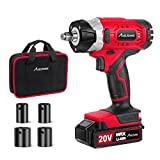 "Avid Power 20V MAX Cordless Impact Wrench with 1/2"" Chuck, Max Torque 185 ft-lbs, 4Pcs Driver Impact Sockets, Tool Bag and 1.5A Li-ion Battery, Avid Power MCIW326"