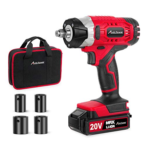 "20V MAX Cordless Impact Wrench with 1/2"" Chuck, Max Torque 185 ft-lbs, 4Pcs Driver Impact Sockets, Tool Bag and 1.5A Li-ion Battery, Avid Power MCIW326"