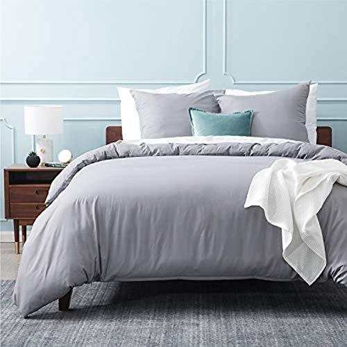 BEDSURE Bettwäsche 155x220 grau Mikrofaser- Bettbezug 155x220 cm 3 teilig mit Doppelpack 80x80 cm Kissenbezüge für Doppelbett weich und bügelfrei