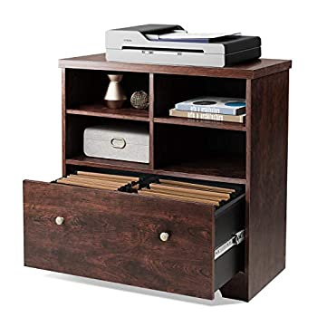 DEVAISE Lateral File Cabinet 1 Large Drawer Wood Filing Cabinet with 2 Open Adjustable Storage Shelves for Office Home Cherry