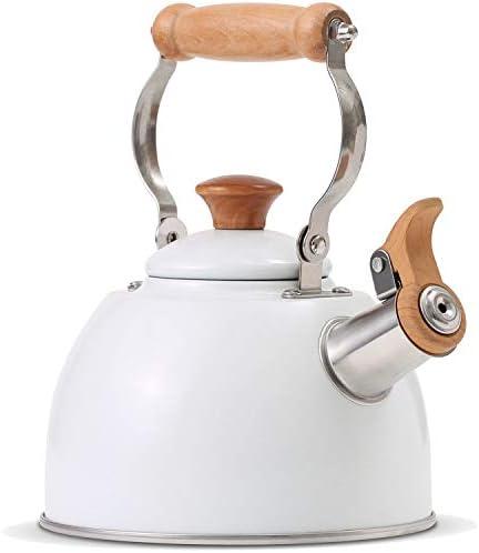 ROCKURWOK Tea Kettle Stovetop Whistling Teapot Stainless Steel 1 6 Quart White product image