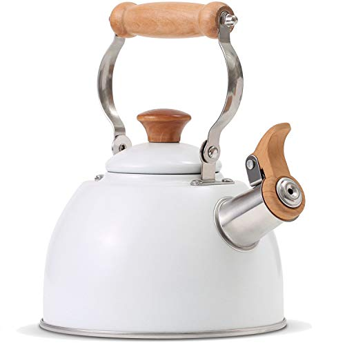 ROCKURWOK Tea Kettle Stovetop Whistling Teapot Stainless Steel 16-Quart White
