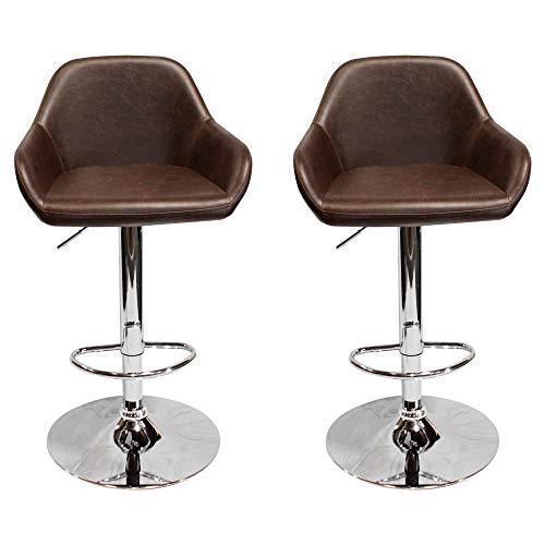 Best Master Furniture Henri Vintage Brown Adjustable Bar Stool,Set of 2,
