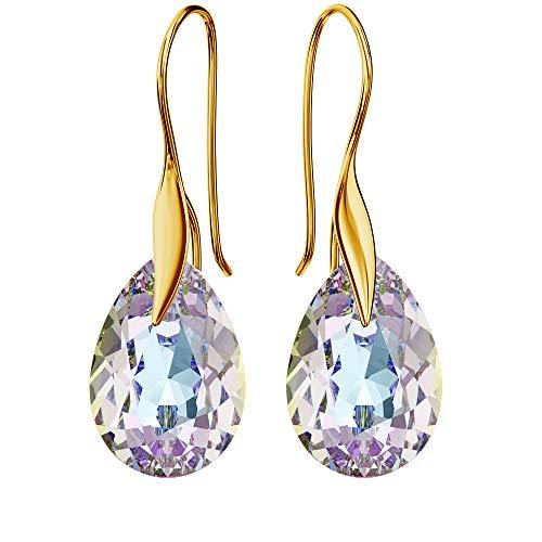 Pendientes chapados en oro de 24 K 925 con cristales de Swarovski – pera – ganchos Vitrail Light – hermosa joya para mujer – con caja de regalo