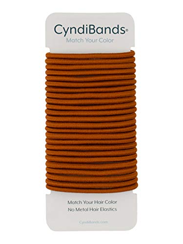 Cyndibands Copper Orange Match Your Color No-Metal 4mm, 1.75 Inch Hair Elastics for Redheads Ponytail Holders - 24 Hair Ties (Copper)