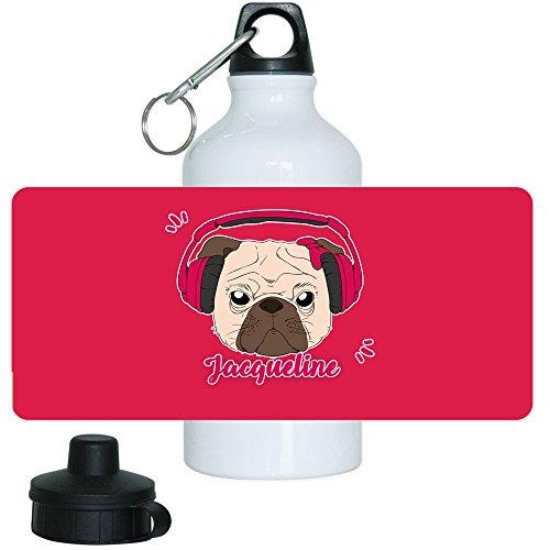 Trinkflasche mit Namen Jacqueline und schönem Motiv-Mops mit Kopfhörer und Schleife für Mädchen