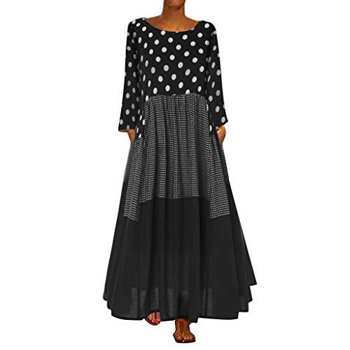 Freizeitkleider Damen Langes Kleider Große Größen,Frauen Vintage Bohe Wellenpunktdruck Kleid mit Langen Ärmeln O-Ausschnitt Maxikleid Saum Baggy Kaftan Tunika Kleid Etuikleid