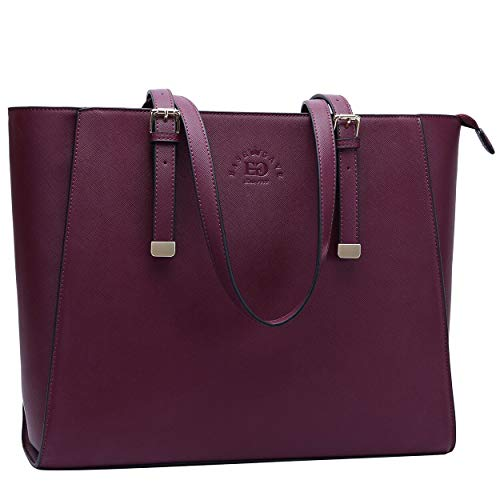 Laptop Bag, Women Tote Bag,15 15.6 Inch Work Bag Briefcase with Comfortable Shoulder Strap for Office Ladies College Girl Carrying,Burgundy