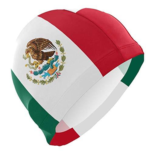 Gebrb Gorro de Baño/Gorro de Natacion, Unisex Swimming Hat Mexico Flag Swim Cap 3D Ergonomic Design Big Head Men Women Bathing Cap