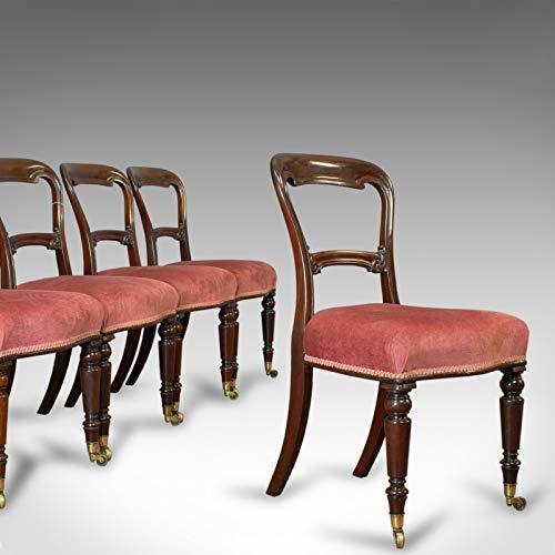 Juego de 5 sillas de comedor antiguas, inglés, nogal, dorado, victoriano