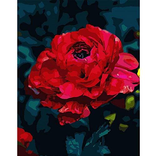 Malen Nach Zahlen DIY Faszinierende Big Red Rose Blume Leinwand Hochzeitsdekoration Kunst Bild Geschenk 40 * 50CM Kein Bilderrahmen