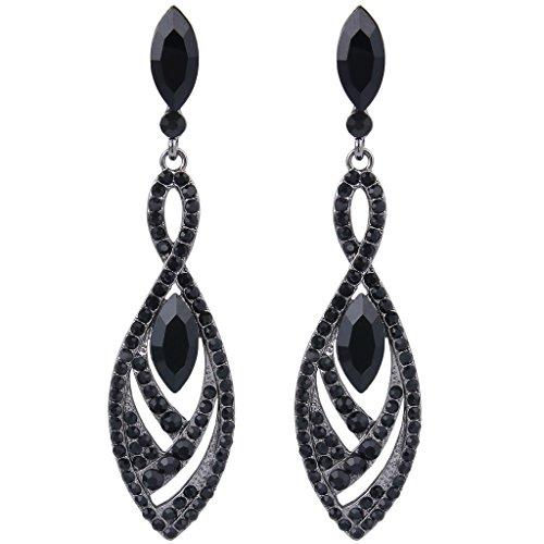 Pendientes de Mujer - Clearine Aretes en Forma de Diamante Lágrimas, Estilo Elegante Precioso Cristales para Boda Novia Fiesta Negro