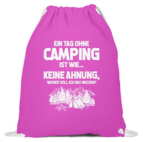 shirt-o-magic Wohnmobil: Tag ohne Camping? Unmöglich! - Baumwoll Gymsac -37cm-46cm-Fuchsia
