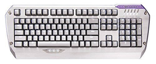 Tesoro Colada Saint Mechanische Gaming Tastatur Silber QWERTZ Deutsches Tastaturlayout mit Cherry MX Black Switches und weißer LED Beleuchtung sowie 3 Daumentasten