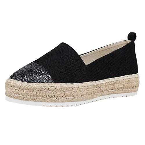 DAIFINEY Damen Slippers Espadrilles Plateau leichte Sommer Pantoffeln geschlossene Ballerinas Hausschuhe(1-Schwarz/Black,38)
