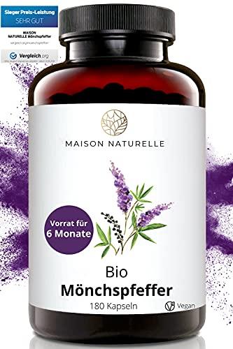 MAISON NATURELLE® - Bio Mönchspfeffer Kapseln (180 Stück) – 100% reines Bio Mönchspfeffer 4:1 Extrakt aus Frankreich - Original Vitex Agnus Castus – hochdosiert mit 40 mg je Tagesdosis