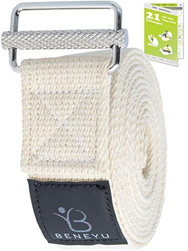 beneyu ® Rutschfester Yoga Gurt (2,5m) - Innovative Metall-Schnalle - 100% Baumwolle - Made in Germany +Übungen