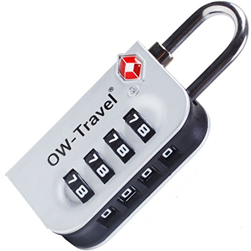 Candado TSA Combinacion Antirobo Maleta - Alta Seguridad Combinación 4 Digitos. Cerradura para Funda Maletas de Viaje, Caja Herramientas, Taquillas Vestuario, Locker : Candados Numerico Plata 1