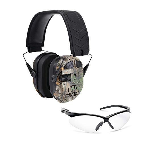 Walkers Game Ear Ultimate Power Quad Hearing Protection Muffs (Realtree Xtra Camo) with Shooting Glasses Bundle