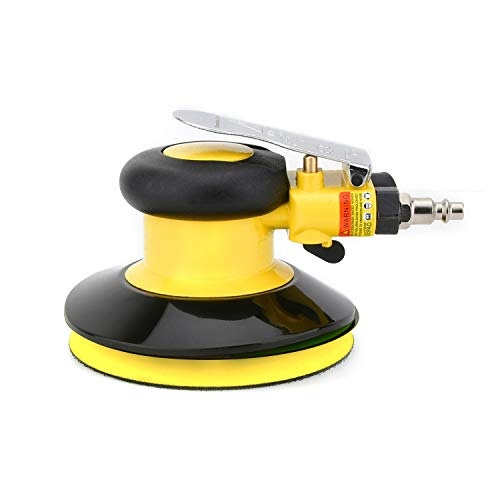 Professional Air Random Orbital Palm Sander, Dual Action Pneumatic Sander, Low Vibration, Heavy Duty … (5-inch Yellow)
