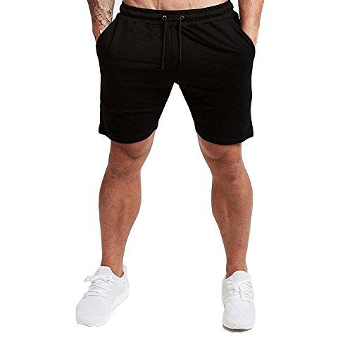 EVERWORTH Men's Casual Training Shorts Gym Workout Fitness Short Bodybuilding Running Jogging Short Pants Black L Tag XXL