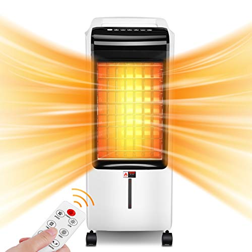 Breezewell 2-IN-1 Space Heater&Evaporative Air Cooler, 1500W PTC Heating & 80W Cooling for All Year Around, 60°Oscillation, Remote Control, Tip-over Protection, 8-Hour Timer for Office Home Use, 30-In