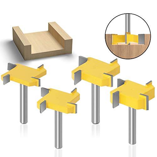 """DingGreat 4Pcs 1/4"""" Schaft CNC Spoilboard Oberfläche Fräser Bit, 1-19/32"""" Schnittdurchmesser Plattenflachfräser Hobelfräser Holzbearbeitungswerkzeug"""