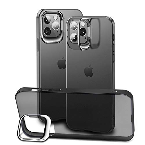ParaPace Metal Kickstand Designed for iPhone 12 Mini Case 5.4 inch,Slim Fit [Anti-Yellow] Soft TPU Bumper And Hard PC Back Shockproof Protective Case 2020 Release-Transparent Black