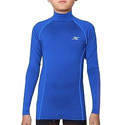 Thermal Underwear Kids Mock Turtleneck Shirts Compression Tops Base Layer NLK BL M Blue