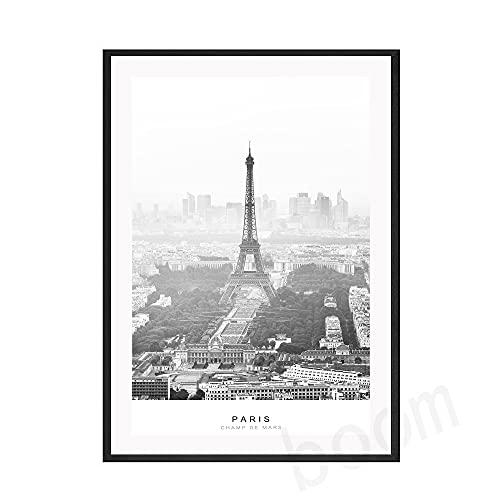 キャンバスポスター Rainy Parisポスターブラックホワイトキャンバス絵画ビンテージアートプリントランドスケープウォールフォトリビングルームの家の装飾 (Color : B, Size : 40x50cm No Frame)