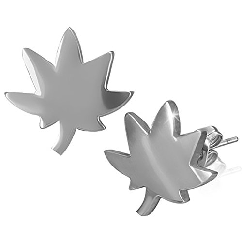 Zense ZE0036 - Pendientes para hombre de acero con diseño de hoja de cannabis y marihuana