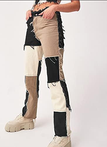 Woovitpl Streetwear Denim Blue Jeans de Cintura Alta Mujer Vintage Ripped Holes Jeans para Mujer Pantalones Pitillo con Bolsillos Mujer 2021 Pantalones de Mujer 8 S