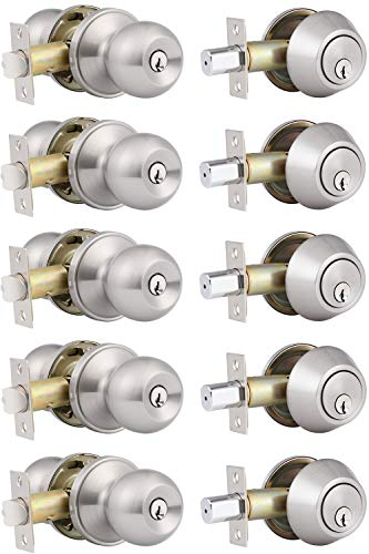 5 Pack Keyed Alike Entry Door Knobs and Single Cylinder Deadbolt Lock Combo Set Security for Entrance and Front Door with Classic Satin Nickel Finish
