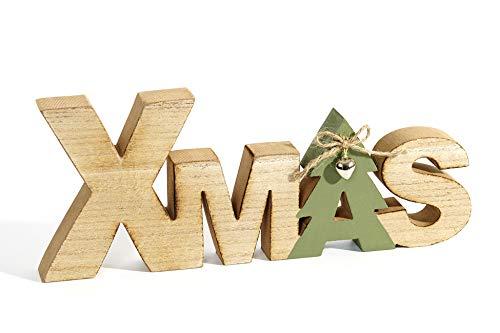 HEITMANN DECO Schriftzug Xmas aus Holz - braun/grün - Aufsteller - mit Glöckchen - Weihnachtsdekoration - Tischdeko