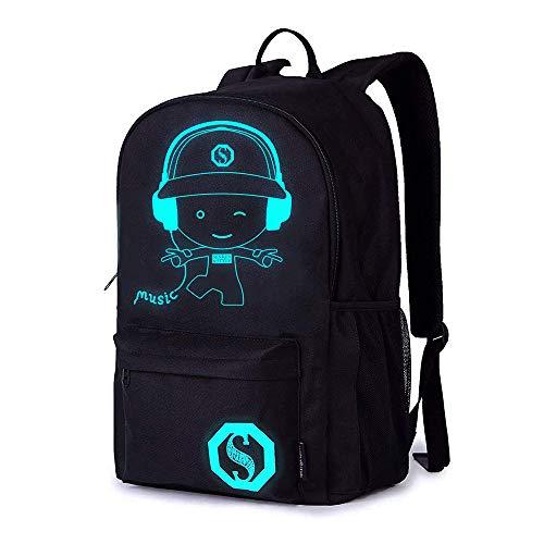 School Bags,Anime Luminous Backpack Laptop Bag Handbag Canvas Shoulder Daypack for Cool Girls Boys Teens Outdoor Backpack (Black1)