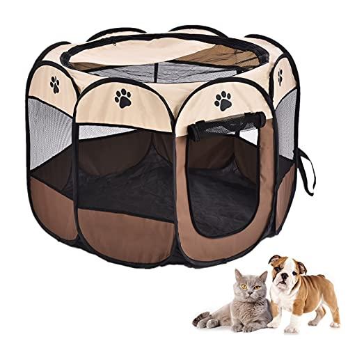 Sararoom Box per Animali Domestici, Recinto per Cani Pieghevole Kennel Impermeabile Tenda per Cane Gatti Cuccioli(91x91x58cm)