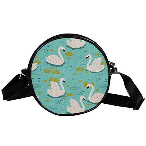 Patrón de cisne blanco nadar en la piscina azul diagonal bolsa redonda Crossbody cartera, bolso de hombro de moda círculo Crossbody Mini lona inclinada bolsa de hombro