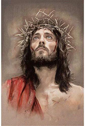 Malen nach Zahlen Set Malen DIY Kinder- und Erwachsenenölgemälde Religiöses Jesus-Bild-40x50cm (mit Rahmen)