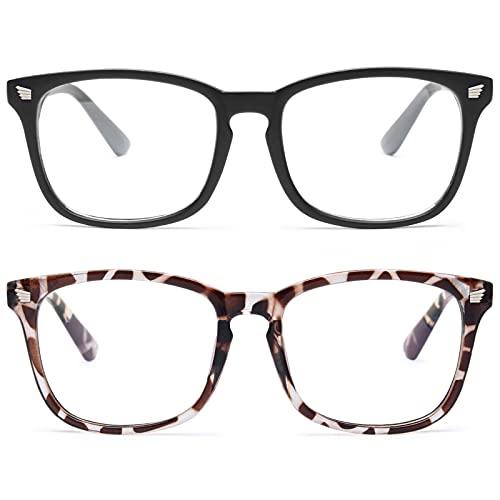 livho 2 Pack Blue Light Blocking Glasses, Computer Reading Gaming TV Phones Glasses for Women Men,Anti Eyestrain & UV Glare (Matte Black+Leopord)