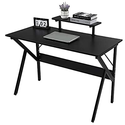 GreenForest Computer Desk 47'' Writing Study Desk with Moveable Monitor Stand Shelf K-Shaped Legs Laptop Table for Home Office Workstation Gaming Desk, Black