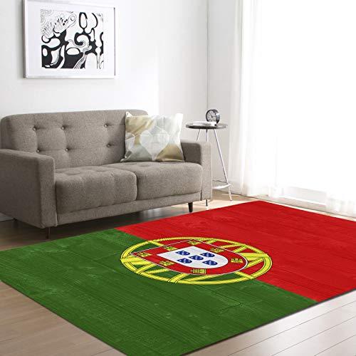 Alfombra de terciopelo suave alfombra nacional Portugal bandera estampada alfombra para sala de estar decoración dormitorio pasillo antideslizante zona alfombra niños guardería jugar mate,50 * 80cm