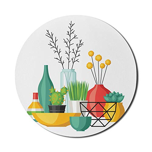 Botanisches Mauspad für Computer, Doodle of House Planting und verschiedene Vasen Keramik Botanik Kreative Kunst, rundes rutschfestes dickes Gummi Modern Gaming Mousepad, 8 \'rund, mehrfarbig